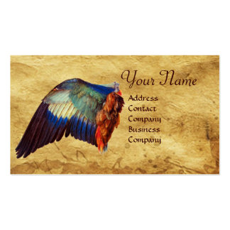 WINGS OF A ROLLER ON ANTIQUE PARCHMENT Monogram Business Card