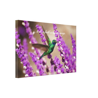 Wings of Faith Sparkling Violet-ears Hummingbird Canvas Print