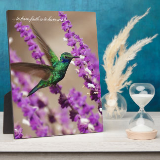 Wings of Faith Sparkling Violet-ears Hummingbird Plaque