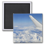 Wings of flying airplane over French Alps, 2 Inch Square Magnet
