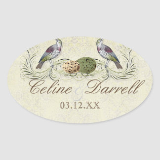 Wings of Love Invitation -Wedding Small Wine Label Oval Sticker