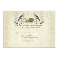 Wings of Love RSVP Response Card - Cream Tan Personalized Invite