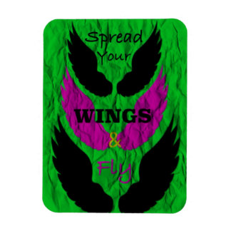 Wings quote Spread Your Wings and Fly Rectangular Photo Magnet