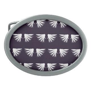 Wings White Purple Oval Belt Buckles