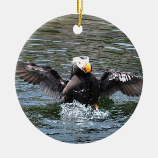Wings Wide Tufted Puffin Ceramic Ornament