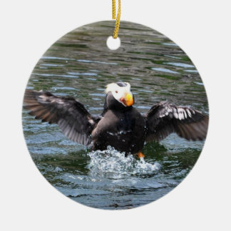 Wings Wide Tufted Puffin Christmas Tree Ornament