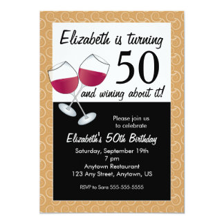 Wining About Turning 50, Red Wine Birthday Party Card