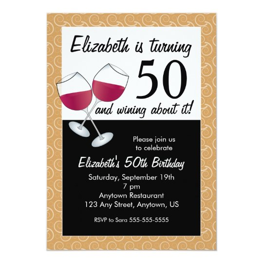 Wining About Turning 50 Red Wine Birthday Party Invitation Zazzle Com