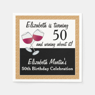 Wining About Turning 50, Wine Birthday Party Napkin