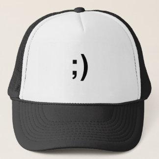 Wink Face Black Trucker Hat