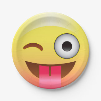 Wink Happy Face Emoji with Tongue Out Party Plate