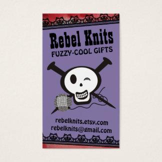 wink skull knitting needles ball of yarn knitter business card