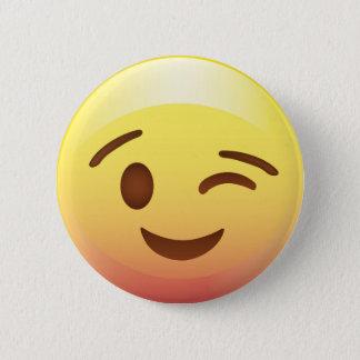 Wink Smile Yellow Emoji Button Pin