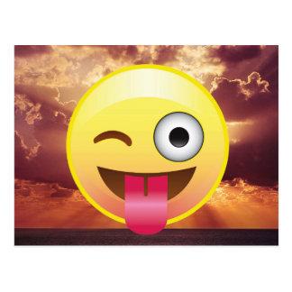 Wink Tongue Out Emoji Ocean Sunset Postcard