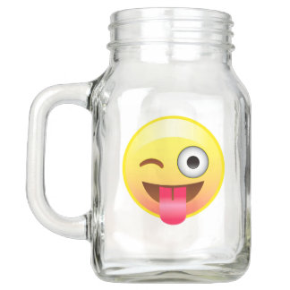 Wink Tongue Out Smile Emoji Mason Jar Party Favor