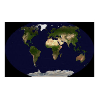 Winkel Tripel Projection Map of the World Poster