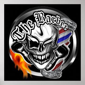 Winking Barber Skull Poster
