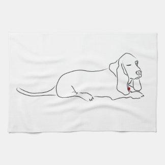 Winking Basset Hound Hand Towel