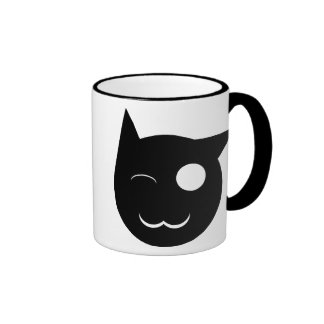 Winking Black Cat Cup Ringer Coffee Mug