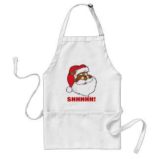 Winking Black Santa Keeping Christmas Secrets Adult Apron