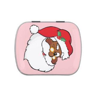 Winking Black Santa Keeping Christmas Secrets Candy Tins