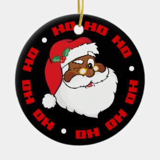 Winking Black Santa Keeping Christmas Secrets Ceramic Ornament