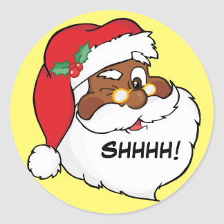 Winking Black Santa Keeping Christmas Secrets Classic Round Sticker