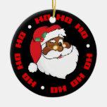 Winking Black Santa Keeping Christmas Secrets Ornaments