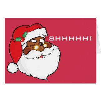 Winking Black Santa Keeping Christmas Secrets Stationery Note Card