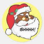Winking Black Santa Keeping Christmas Secrets Sticker