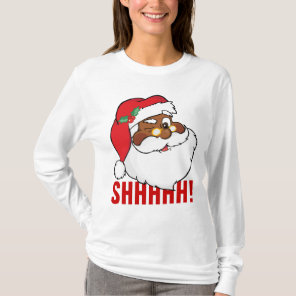 Winking Black Santa Keeping Christmas Secrets T-Shirt