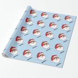 Winking Black Santa Keeping Christmas Secrets Wrapping Paper