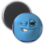 winking blue square smiley refrigerator magnets