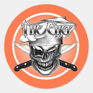 Winking Chef Skull Classic Round Sticker