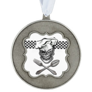 Winking Chef Skull Pewter Ornament