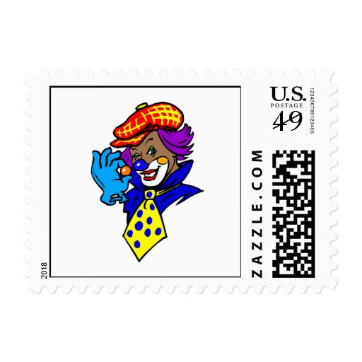 Winking Clown with Marble Postage Stamps