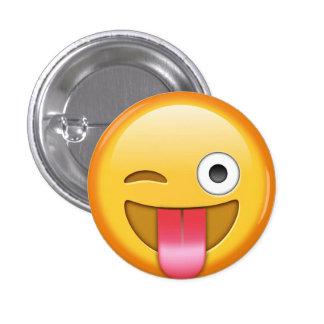 Winking emoji smiley badge button