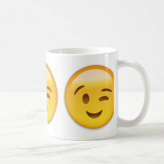 Winking Face Emoij Classic White Coffee Mug