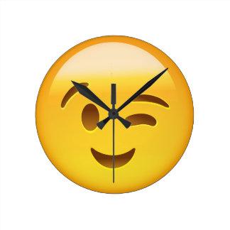 Winking Face Emoij Round Clock