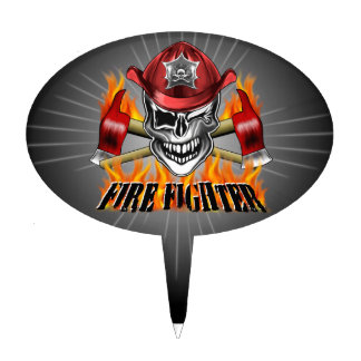 Winking Firefighter Skull and flaming Axes Cake Topper