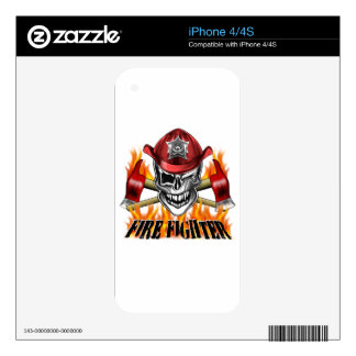 Winking Firefighter Skull and flaming Axes Decal For The iPhone 4S
