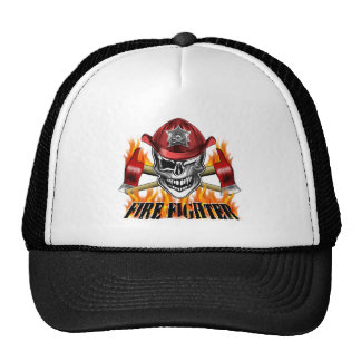 Winking Firefighter Skull and flaming Axes Trucker Hat