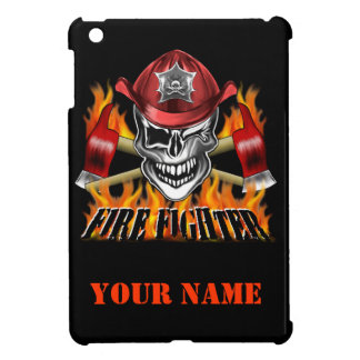 Winking Firefighter Skull and flaming Axes iPad Mini Covers