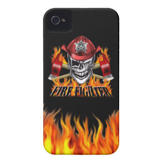 Winking Firefighter Skull and flaming Axes iPhone 4 Case
