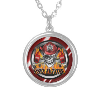 Winking Firefighter Skull and flaming Axes Round Pendant Necklace