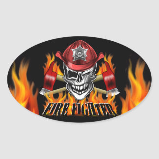 Winking Firefighter Skull and flaming Axes Oval Sticker