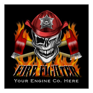 Winking Firefighter Skull and flaming Axes Poster