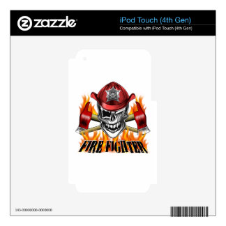 Winking Firefighter Skull and flaming Axes iPod Touch 4G Skins