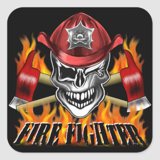 Winking Firefighter Skull and flaming Axes Square Sticker