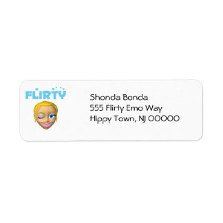 Winking Flirty Girl Label